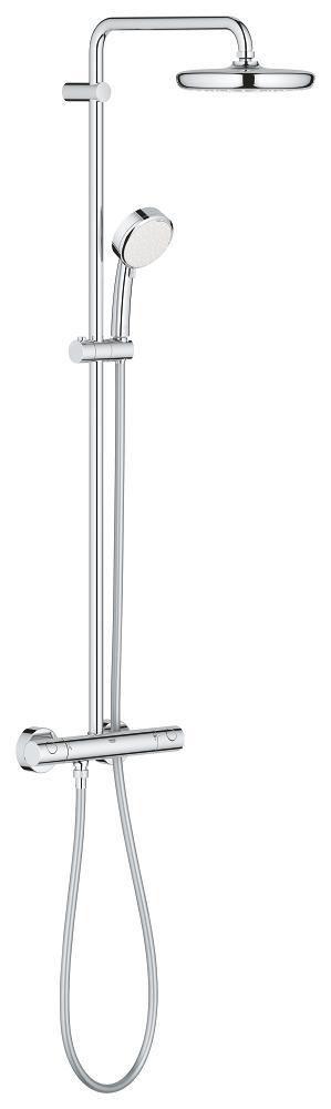 Colonne de douche thermostatique Tempesta Cosmopolitain 210 - métal chromé - bras de douche L. 390 mm - flexible L. 1,75 m