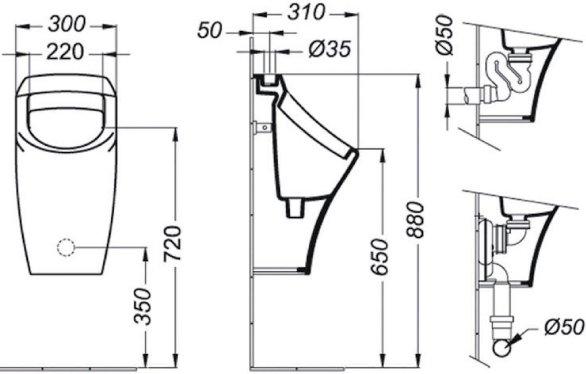 Siphon avec sortie verticale pour urinoir AXIF, blanc Réf D5855AC