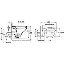 abattant thermodur charni res m tal pour cuvette suspendue courte blanc r f e4304 00 jacob. Black Bedroom Furniture Sets. Home Design Ideas