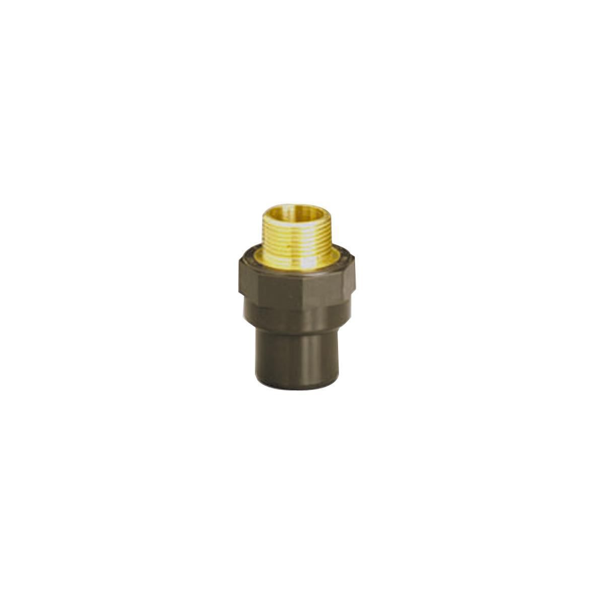 Embout avec filetage laiton B SYSTEM'O PVC/laiton femelle-mâle diamètre 16/20-1/2 réf. HEBL16