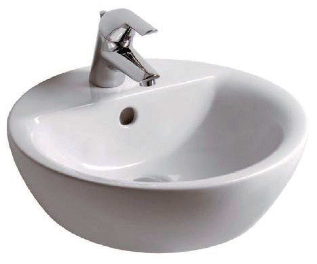 vasque en gres Vasque ronde à poser CONNECT diamètre : 43 cm Grès blanc Réf. E804001