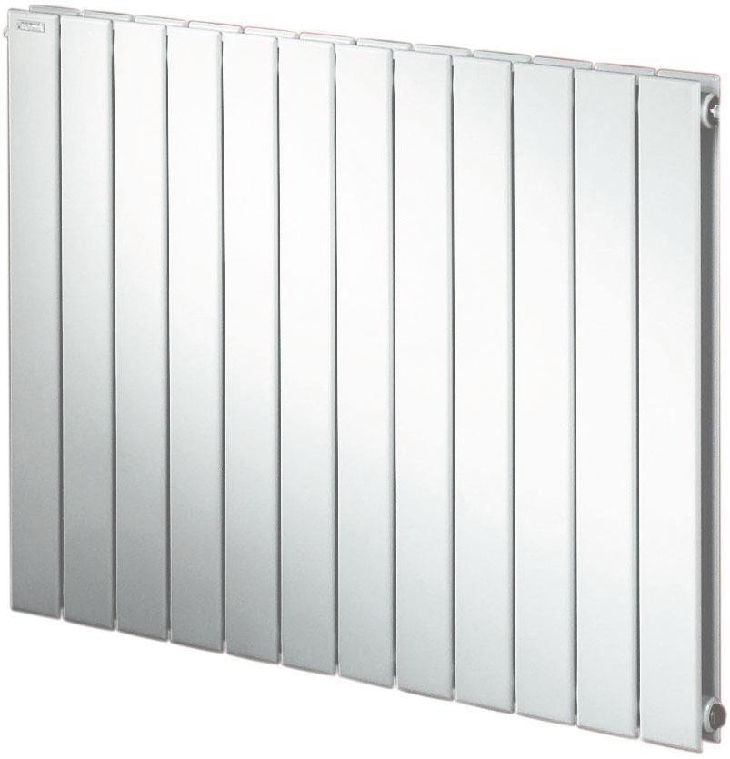 Radiateur FASSANE eau chaude horizontal double à éléments verticaux 708 w hauteur 700 mm largeur 592 mm 8 éléments blanc réf. SHXD-070-059
