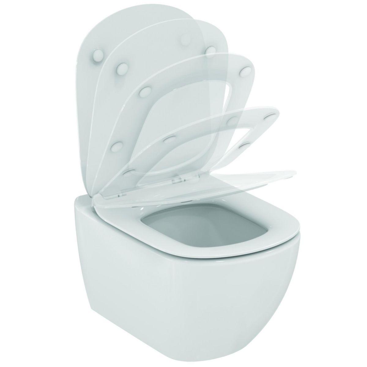 WC suspendu TESI caréné, technologie Aquablade ®, abattant ultrafin, frein de chute