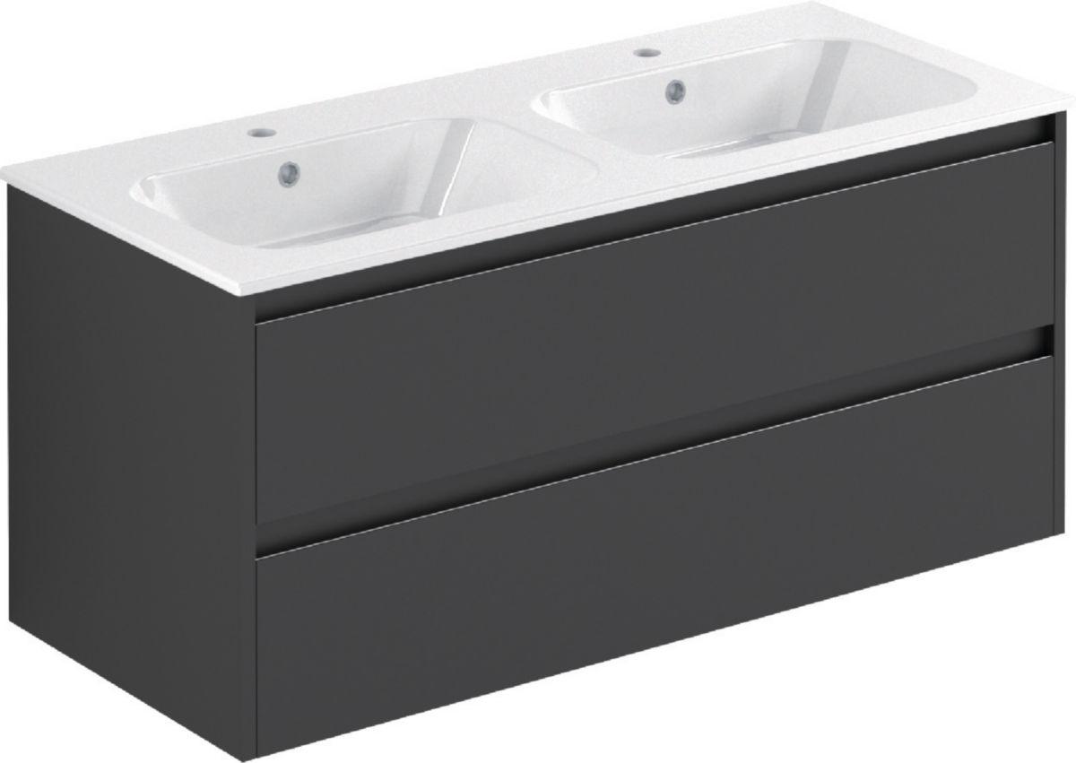 meuble all day sous-vasque 120 cm double vasque gris mat - alterna ... - Meuble Salle De Bain Brossette