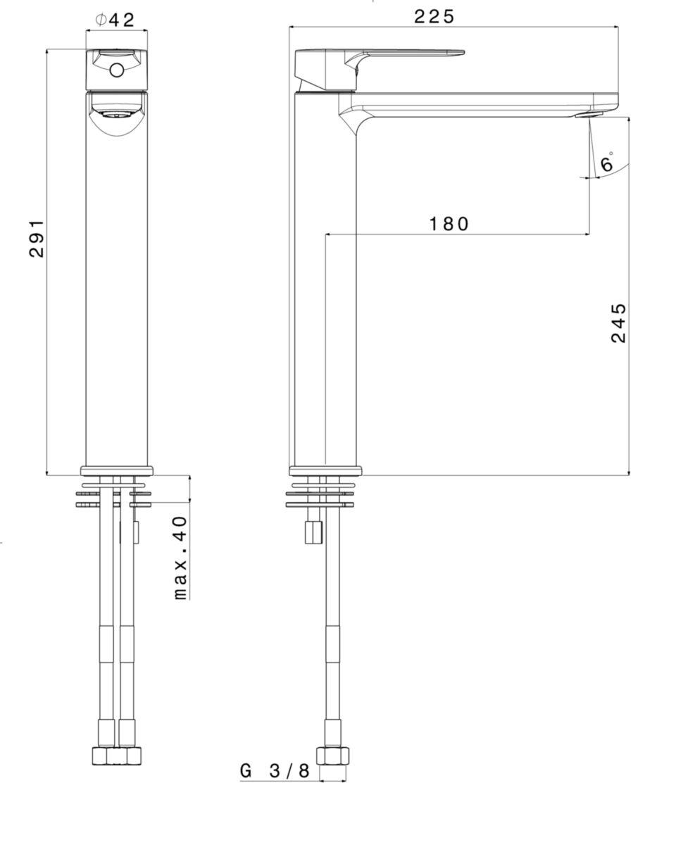 Mitigeur lavabo PLENITUDE 2 rehaussé H 220 cm