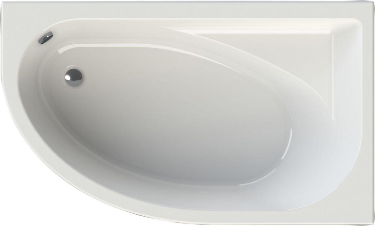 Alterna Baignoire Asymetrique Verseau 3 150 X 100 Cm Droite Acrylique Blanc Cedeo