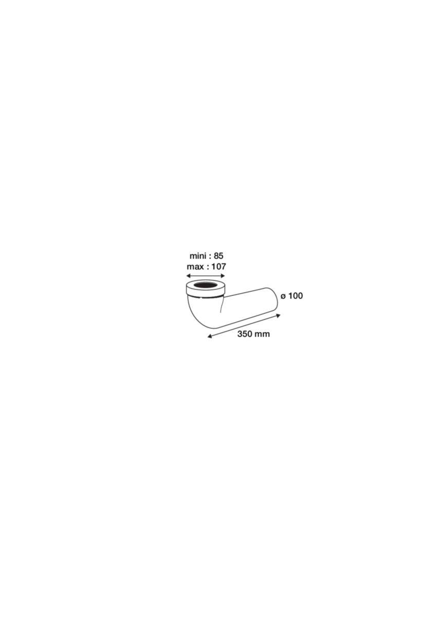 Pipe longue diamètre 100 - 350 85 / 107 mm réf. 1PIPUNIC