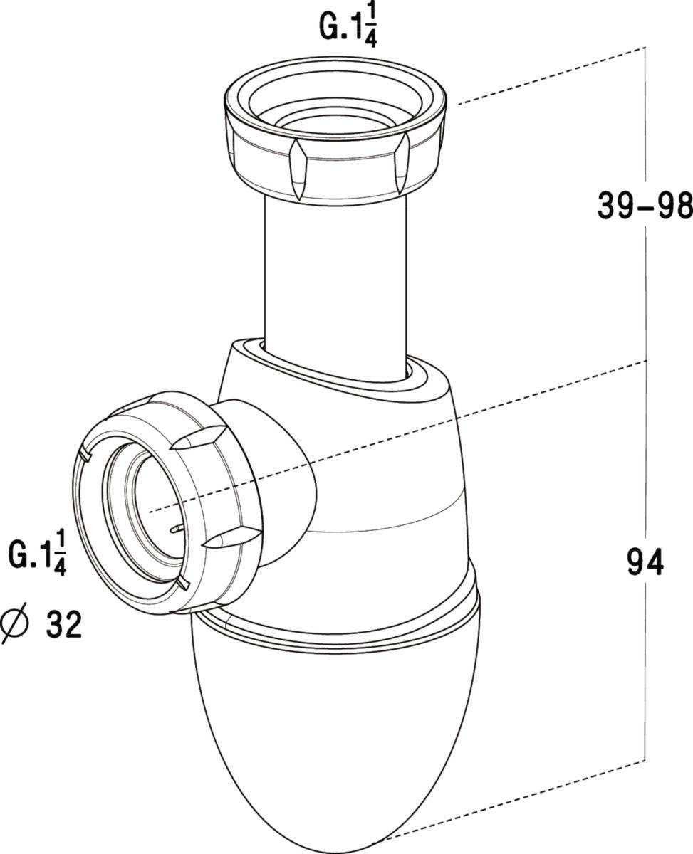 Siphon bi-matiere lavabo réf. 201282