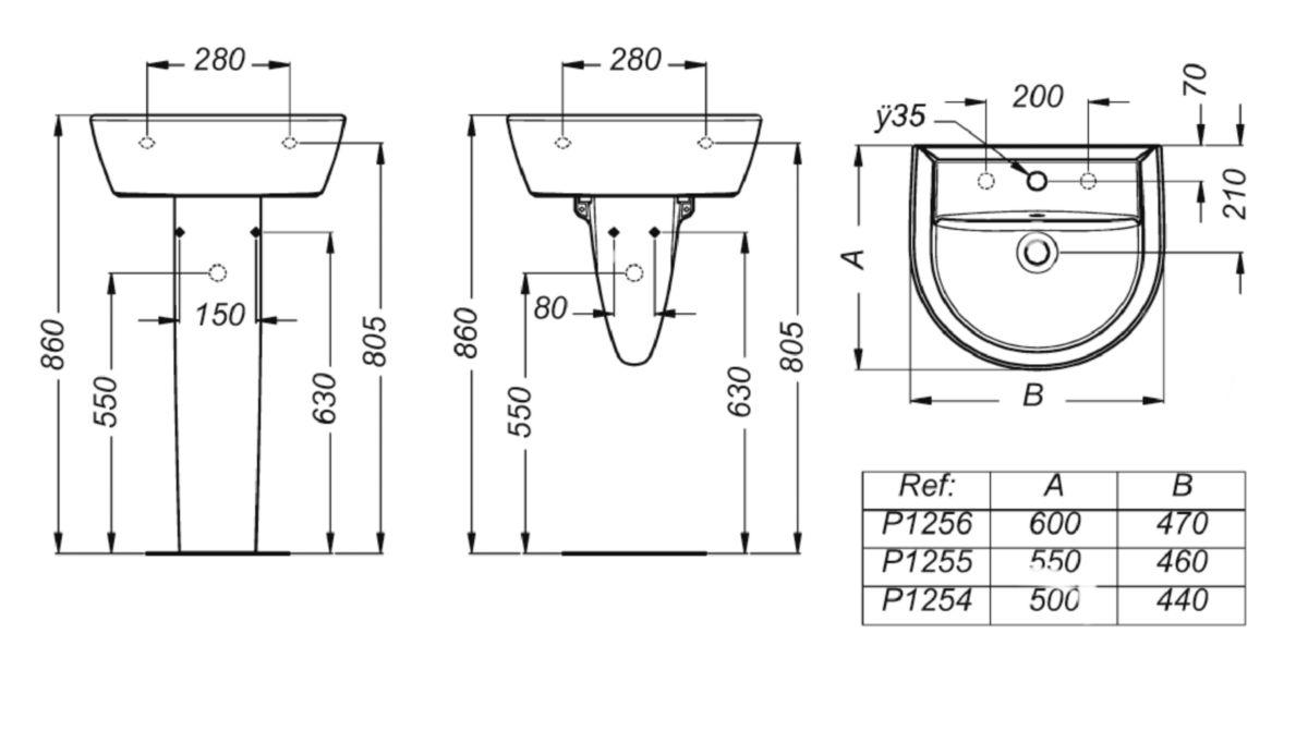 Colonne de lavabo ULYSSE 2, blanc réf. P204201