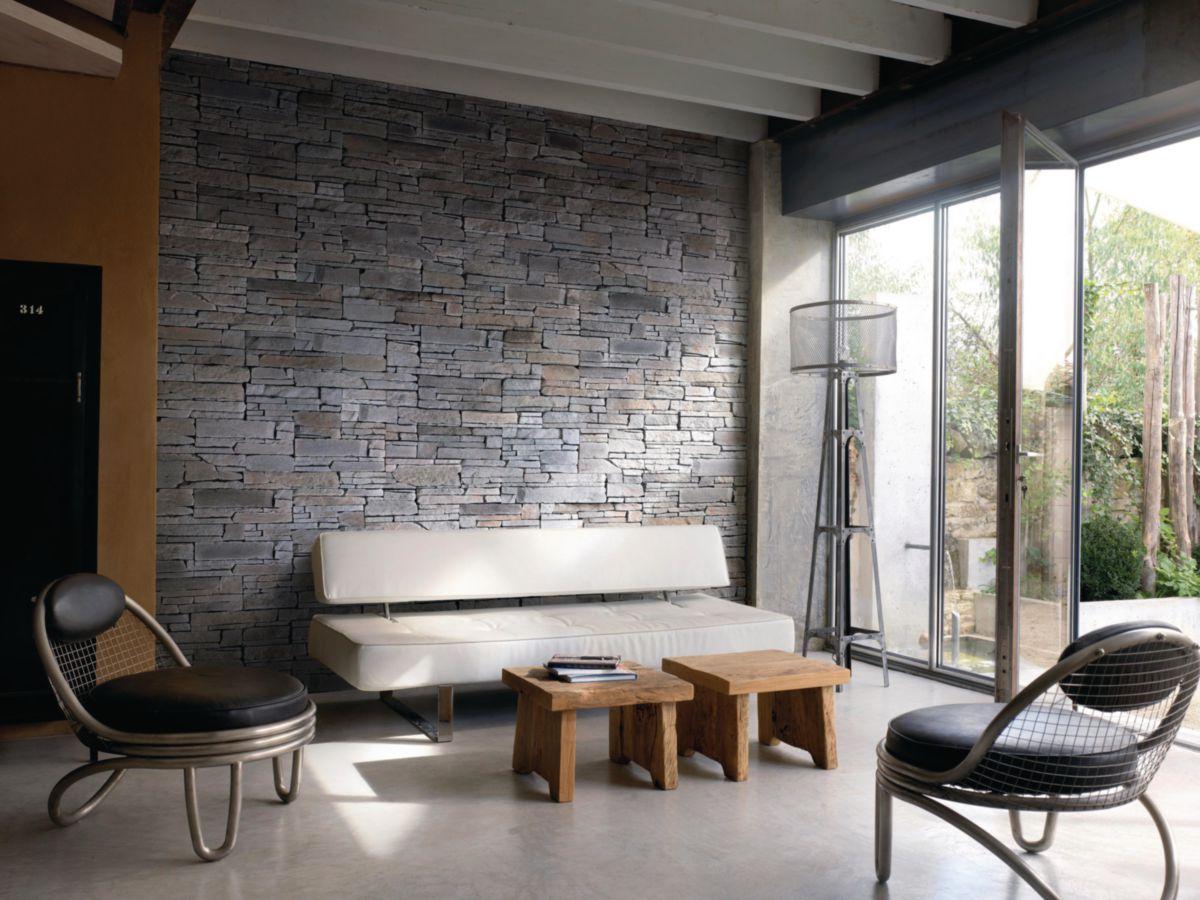 Plaquette De Parement Mural Interieur Rocky Mountain Pierre Reconstituee Anthracite Multiformat 21 42x7 5 15 Cm Ep 3 Cm