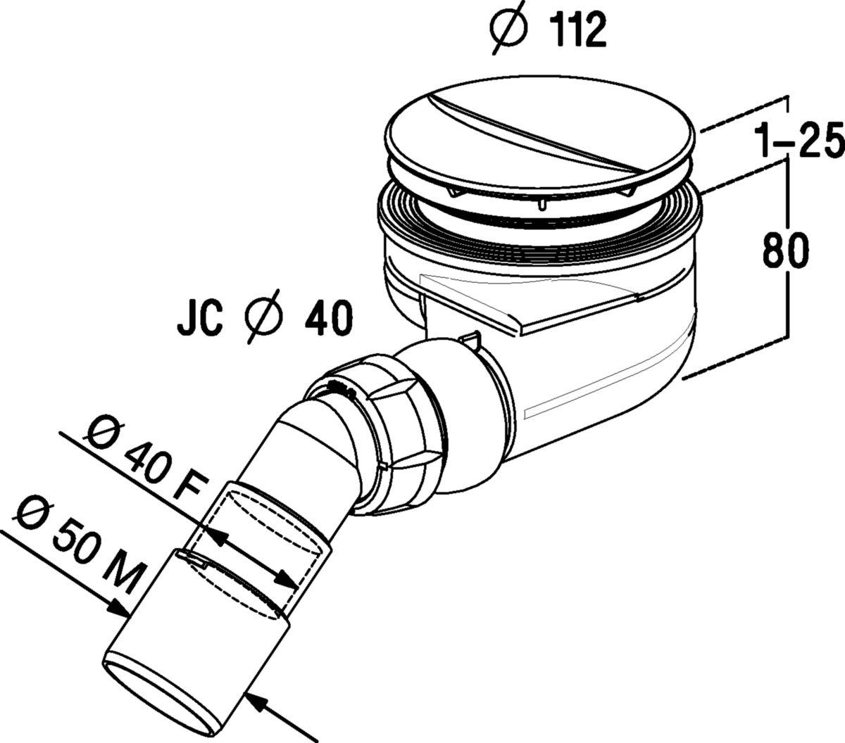 Bonde siphoïde pour receveur de douche Turboflow + enjoliveur - Ø 90 mm