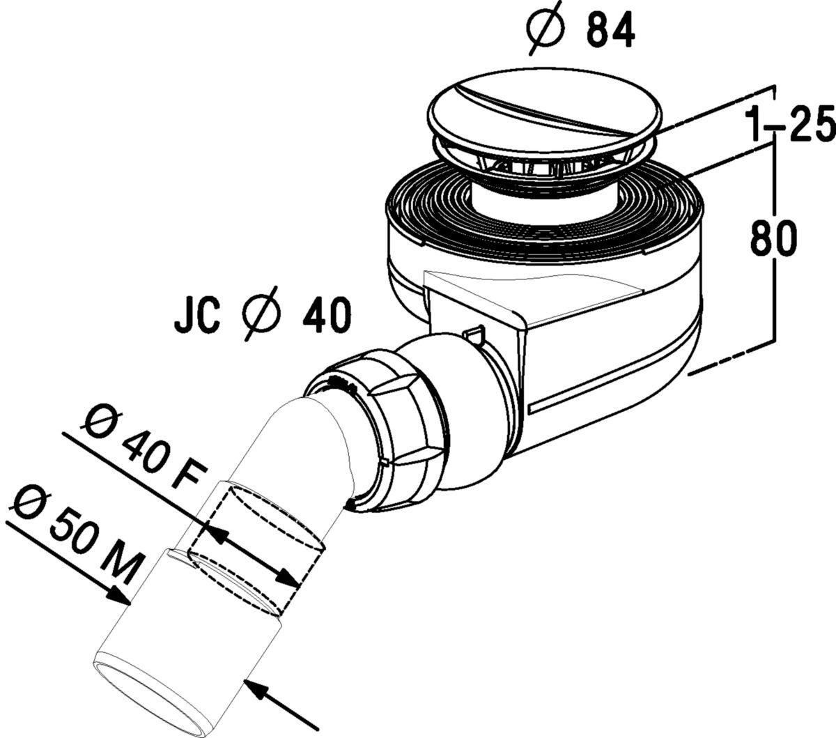 Bonde receveur grand débit Turboflow avec enjoliveur - Ø 60 mm