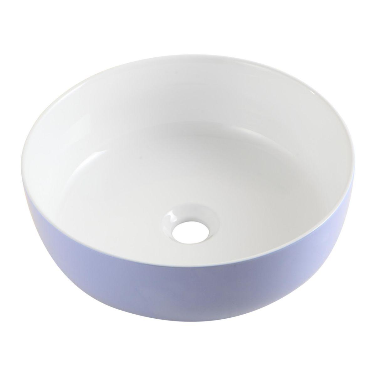 Vasque à poser DAILY O Color blanche bleutée à l'extérieur