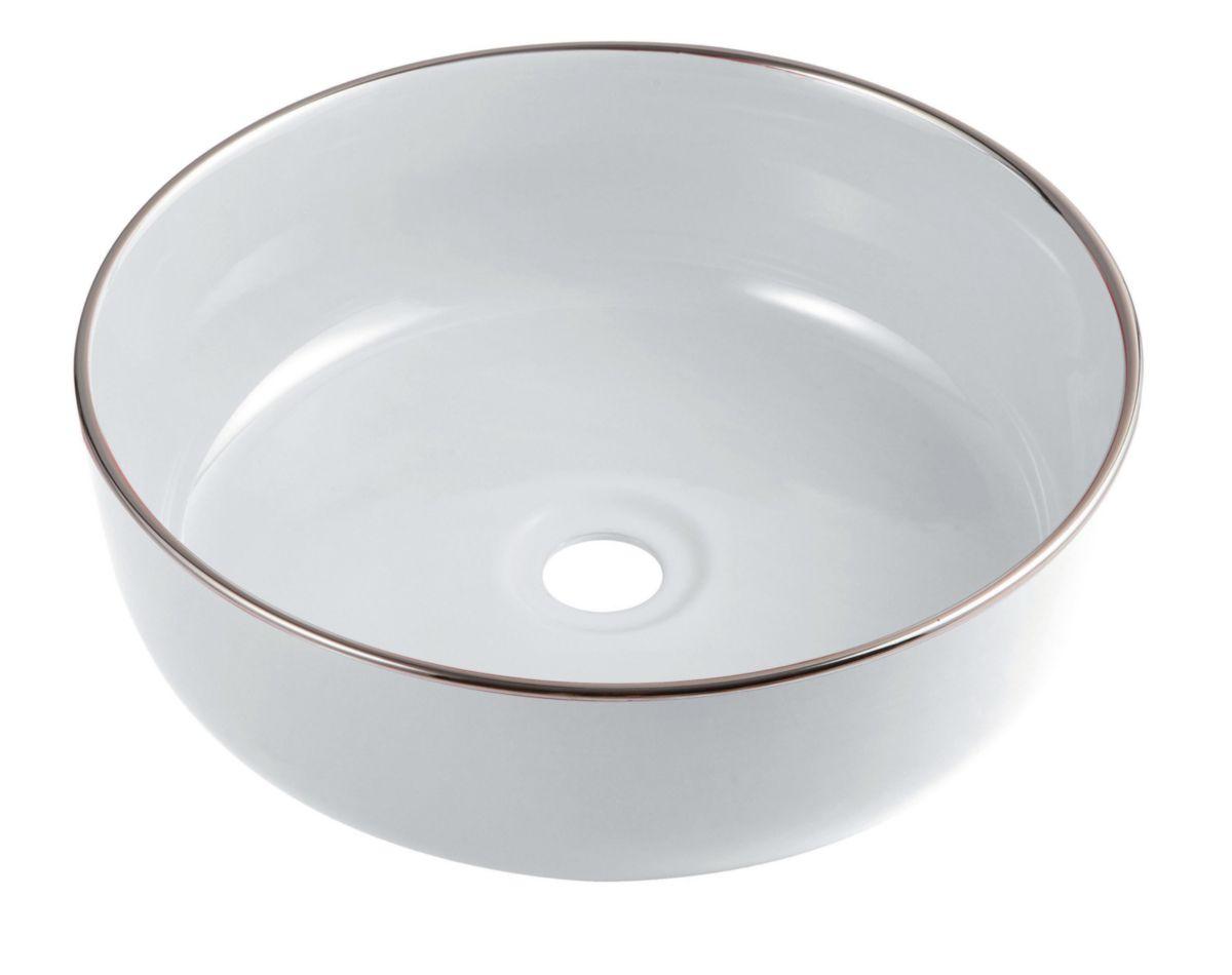 Vasque à poser DAILY O Color blanche bord chromé