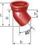 Coude à 45° SME en fonte diamètre nominal 125mm Réf. 156171 PAM