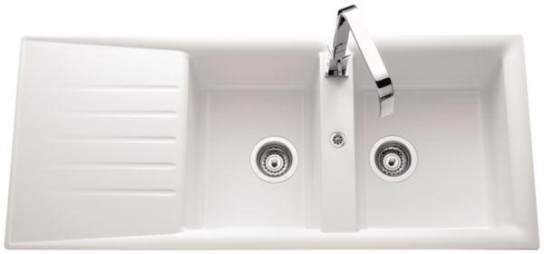 Evier NATURE Primeo 2 116x50cm 2 cuves 1 égouttoir bonde D90mm réversible blanc