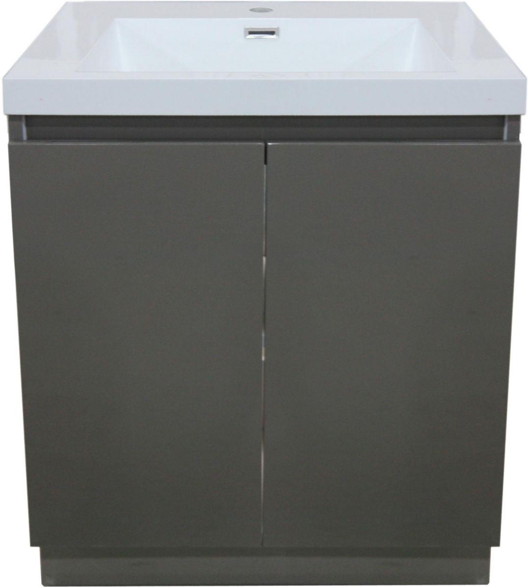 meuble sous vasque primeo 70 cm au sol 2 portes gris alterna. Black Bedroom Furniture Sets. Home Design Ideas
