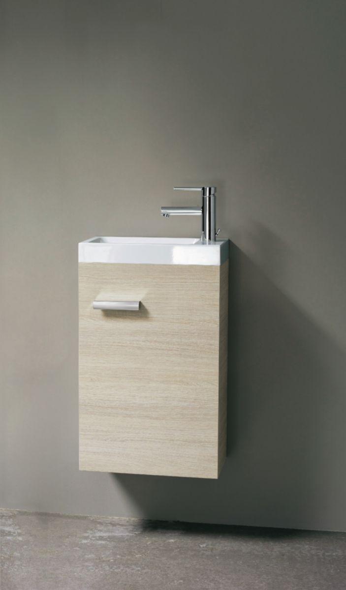 meuble lave mains 1 porte 40 cm woodstock bois clair alterna sanitaire cedeo