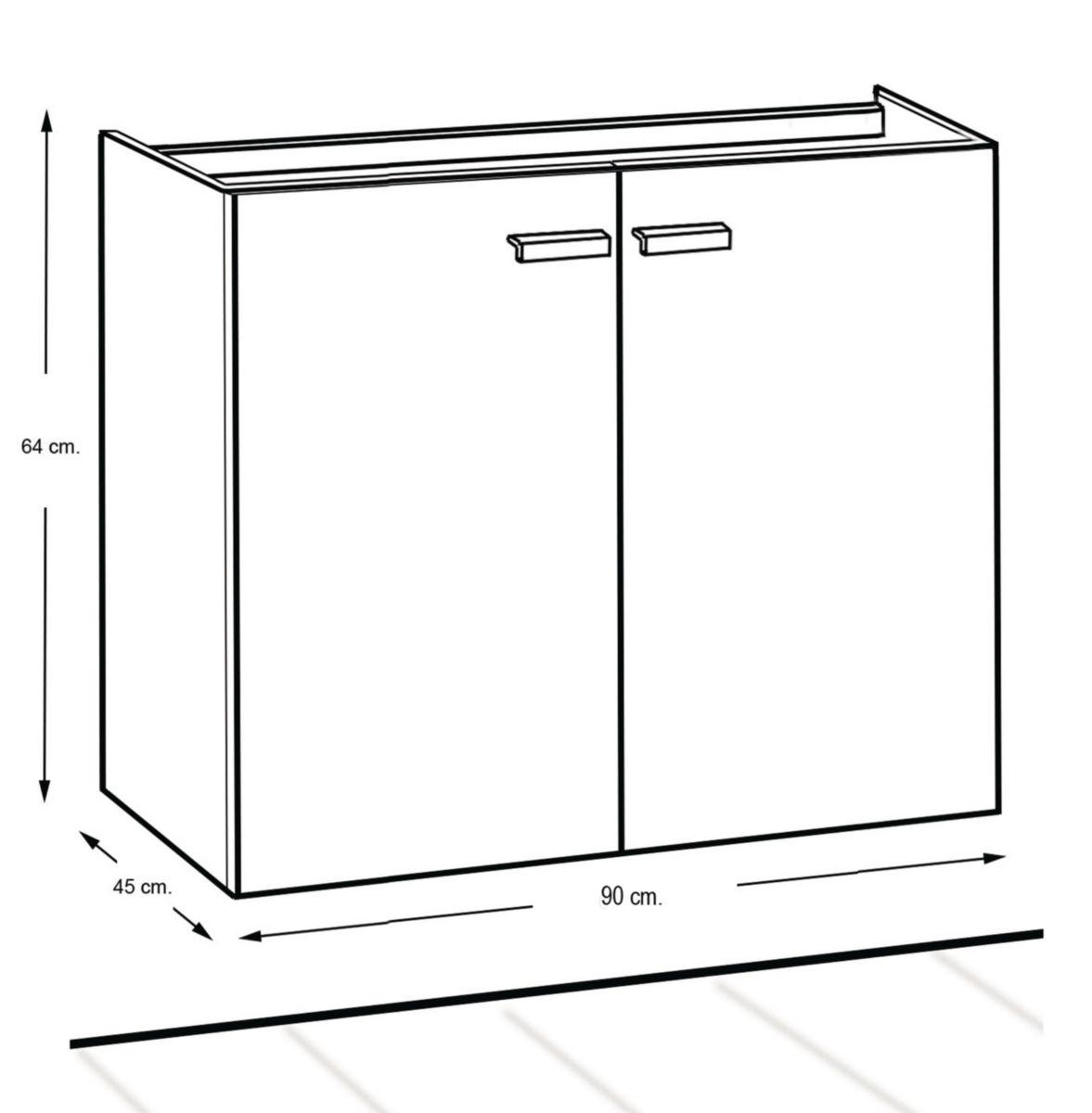 Meuble WOODSTOCK 2 portes fuschia 90 cm