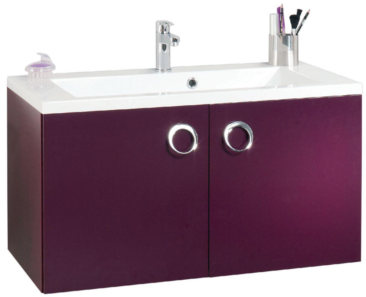 Alterna meuble sous vasque seducta 90 cm 2 portes aubergine cedeo - Meuble salle de bain cedeo ...