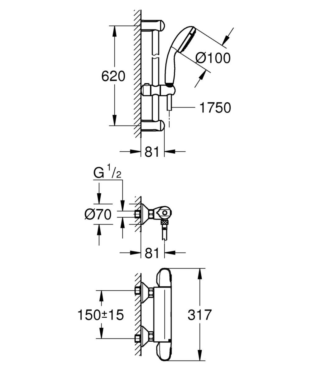 Mitigeur thermostatique douche Grohtherm 1000 New, C3, avec barre 600 mm réf. 34557000