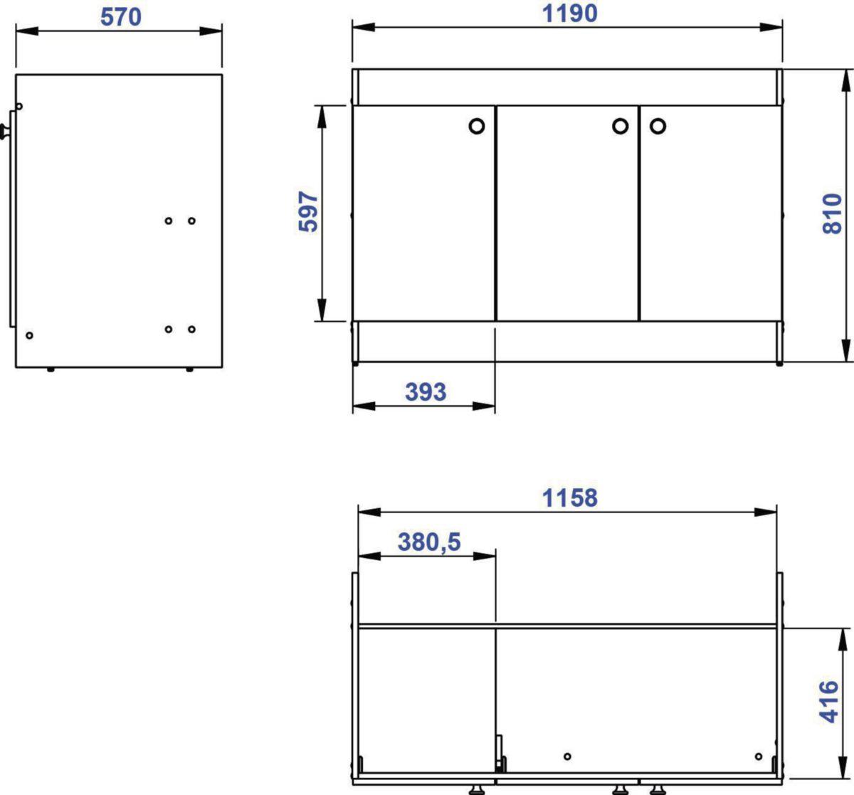 Meuble sous-évier mélaminé, épaisseur 16 mm, 1 étagère, 3 portes, vérins de réglage. réf. ABCP120D02