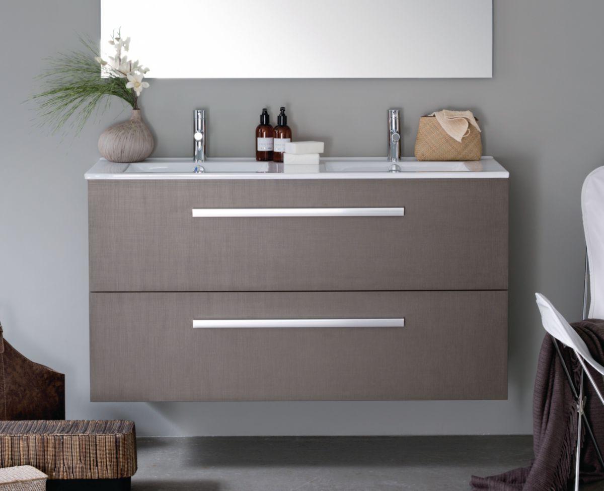 meuble 2 tiroirs 120 cm woodstock bois clair alterna sanitaire brossette - Meuble Salle De Bain Brossette