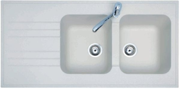 Évier synthèse PRIMEO  à poser, 2 cuves 1 égouttoir, vidage manuel