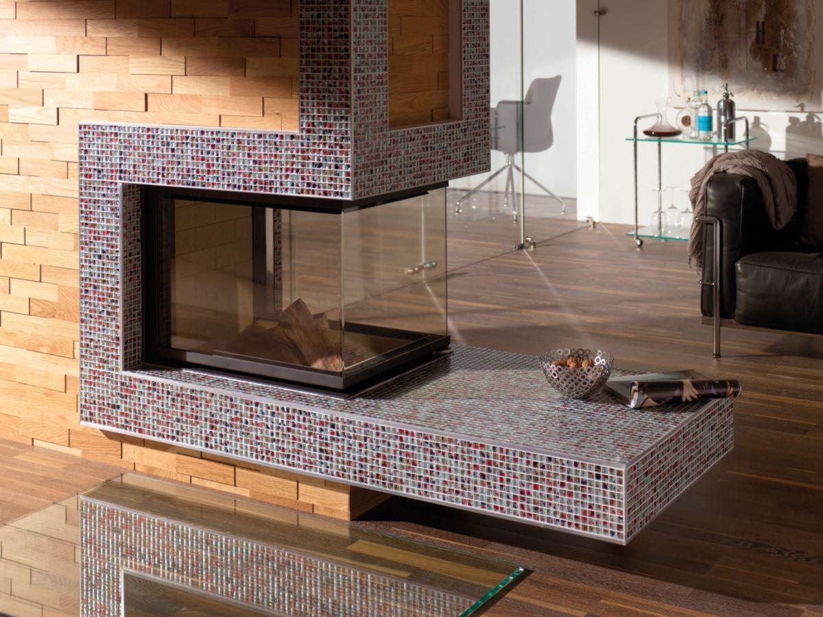 Mosaïque 29,8x29,8 cm verre - Translucent Koi - tesselles 1,5x1,5 cm