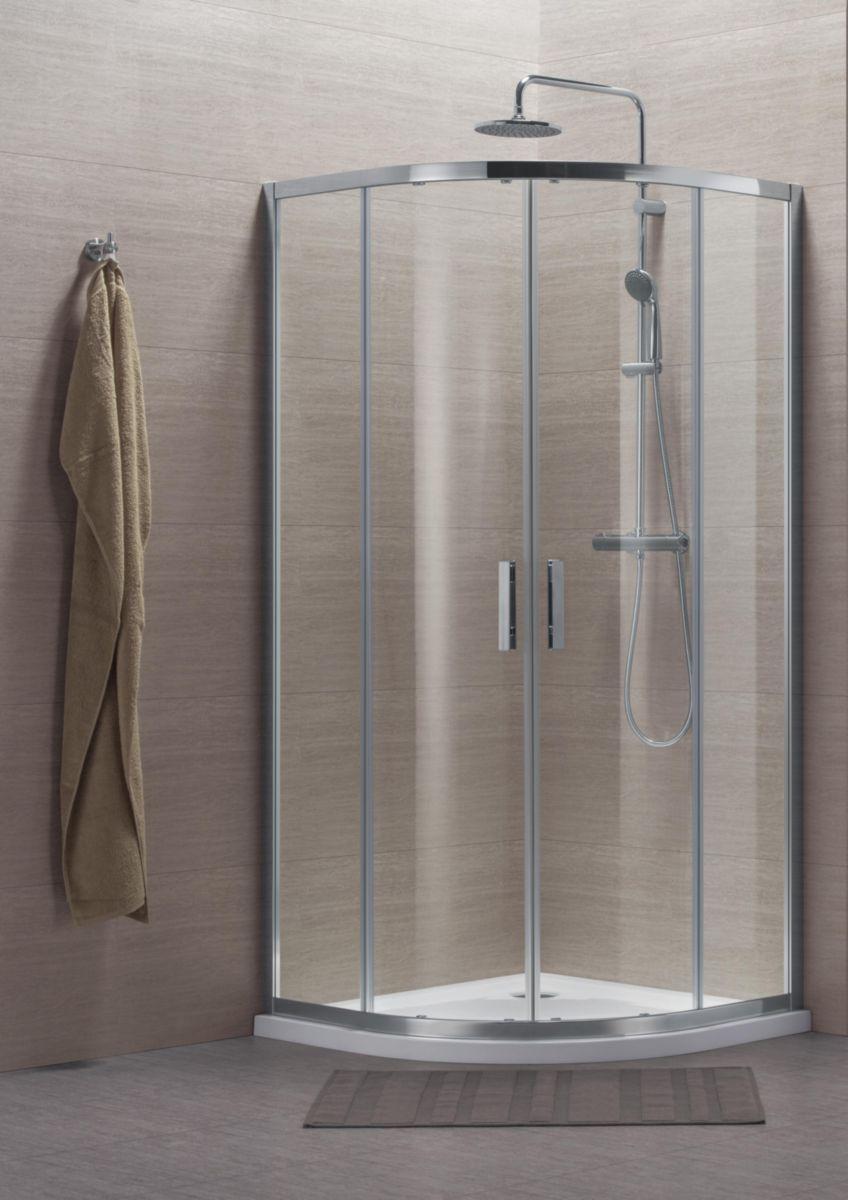 Paroi de douche Concerto quart cercle coulissant 80x80cm profilé argent brillant verre transparent