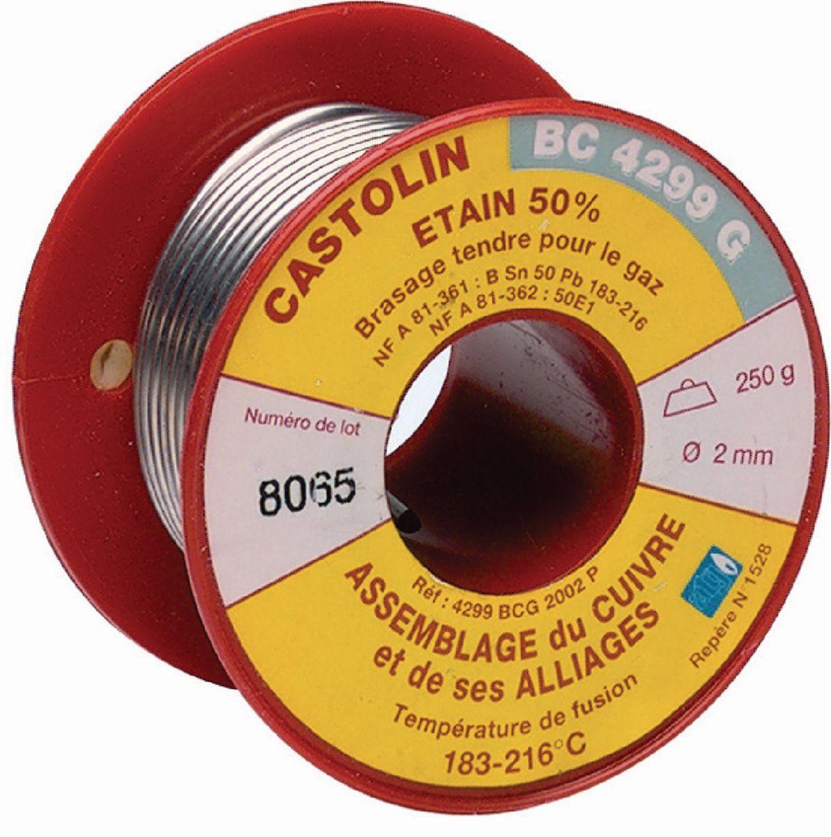Bobine de fil BC4299G brasage tendre étain 50% D2 250g Réf. 600783