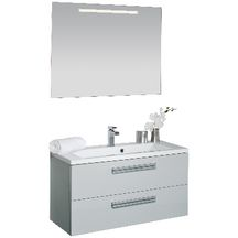 Meuble sous vasque seducta 90 cm 2 tiroirs gris perle for Meuble 2 tiroirs 90 cm woodstock