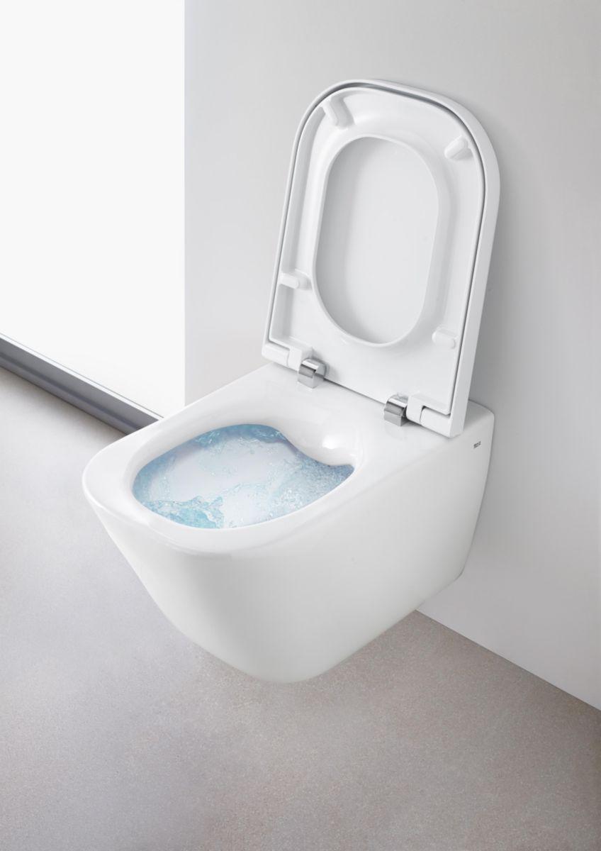 Marque De Toilette Suspendue pack wc the gap composé de cuvette de wc suspendue sans bride et abattant  thermodur double laqué frein de chute silencio réf. a34h47l000