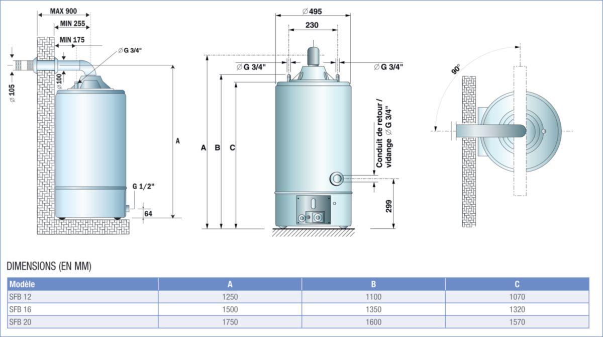 chauffe eau gaz accumulation 155 l stable ventouse t chauf 126 d fum e 60 100 classe. Black Bedroom Furniture Sets. Home Design Ideas