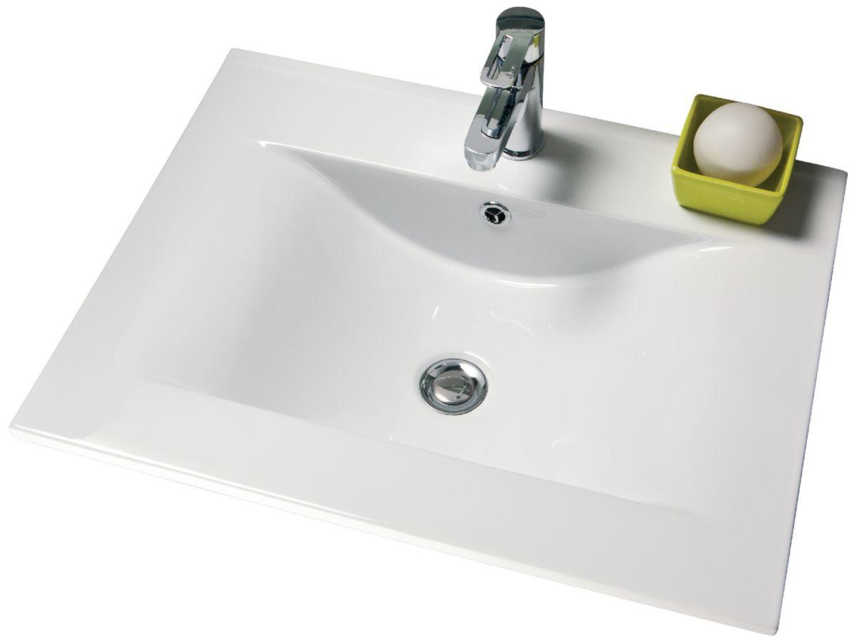 Plan Céramique 1 Vasque Seducta 60 Cm Blanc Alterna