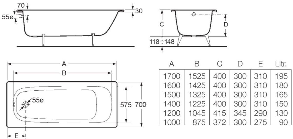 Baignoire Contesa 170x70cm Blanc En Acier émaillé épaisseur 1 5mm Bord Plat Non Percée Avec Pieds Métal à Visser Fond Lisseréf A235