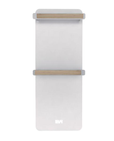 Radiateur sèche-serviettes électrique NATIV lys (blanc laqué) supports serviettes chêne clair 750W Réf EVH01FBAW1