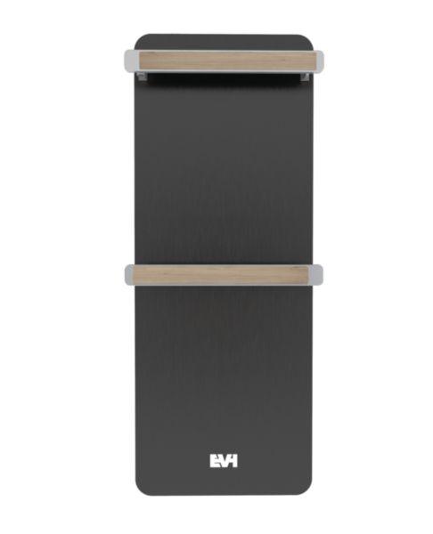 Radiateur sèche-serviettes électrique NATIV noir anodisé supports serviettes chêne clair 750W Réf EVH01ANOI1
