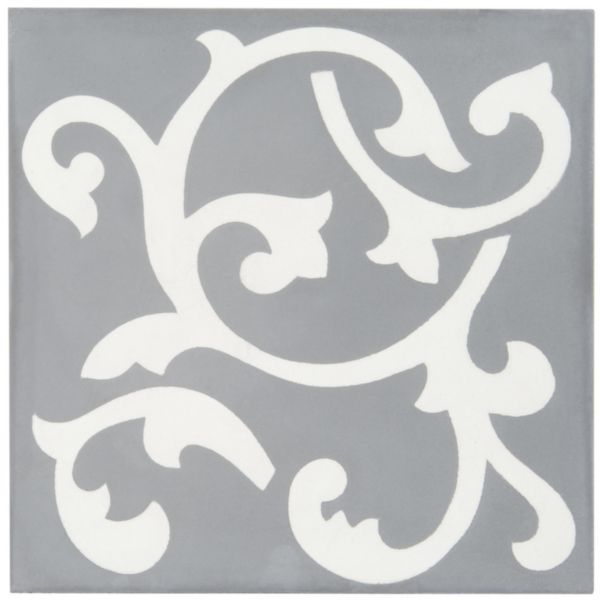 Carreau sol intérieur ciment CIMI09 - décor contemporain gris foncé/blanc cassé - 20x20 cm