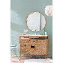 Meuble CLOUD en chêne sur pied 2 tiroirs façades chêne avec un plan vasque en solid surface poignée inox