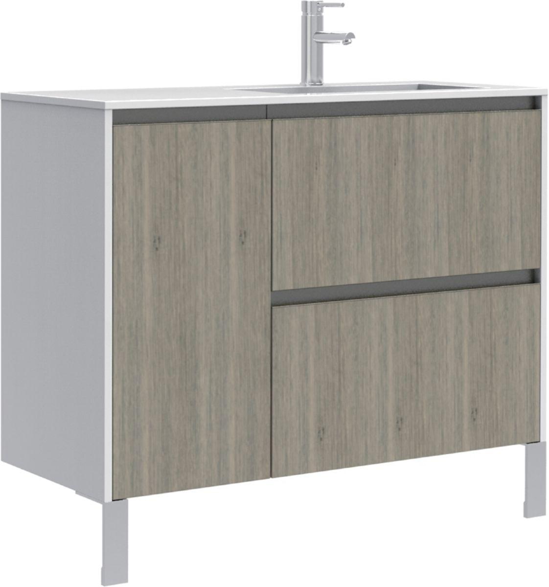 meuble sous vasque plenitude 105 cm 2 tiroirs 1 porte pour vasque droit profondeur 50 cm blanc. Black Bedroom Furniture Sets. Home Design Ideas