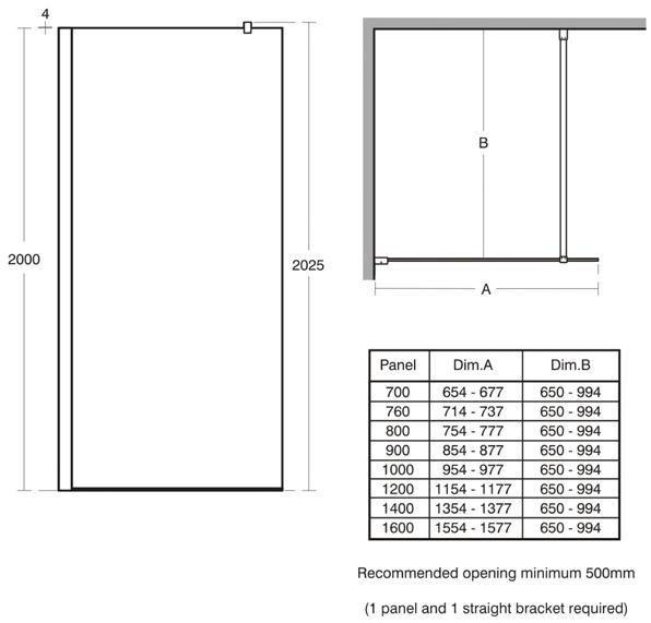 ideal standard paroi de douche fixe connect 70 cm. Black Bedroom Furniture Sets. Home Design Ideas