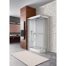 Cabine rectangle NEW CITY 120 X 80 cm, porte coulissante, verre transparent, fond blanc pur réf. L11NC8R1211