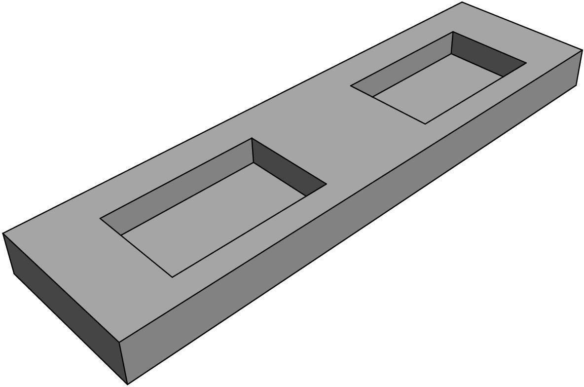 Plan De Toilette Hydrofuge plan de toilette zao avec double vasque 180 cm béton (hpl)