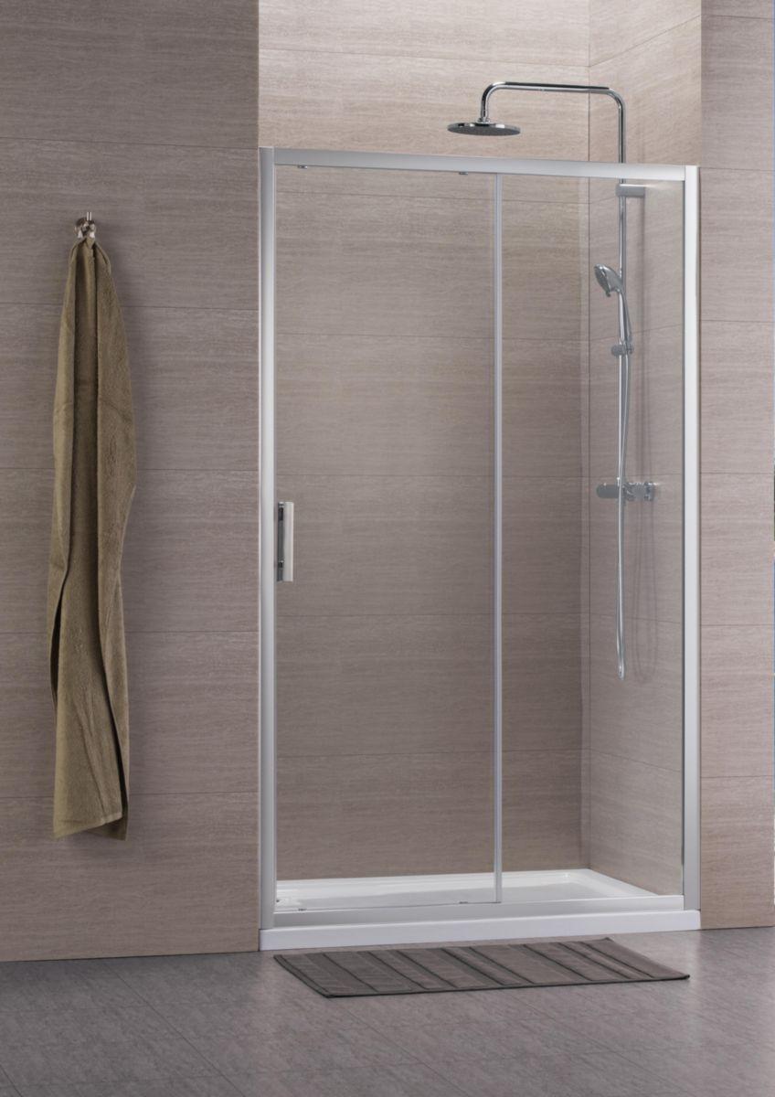 Alterna paroi de douche concerto acc s de face coulissant 2 vantaux 100 x 100 cm profil - Paroi de douche 100 ...