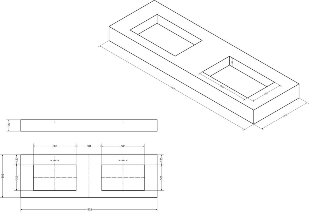 Plan De Toilette Hydrofuge plan de toilette zao avec double vasque 160 cm chêne blanchi (hpl)