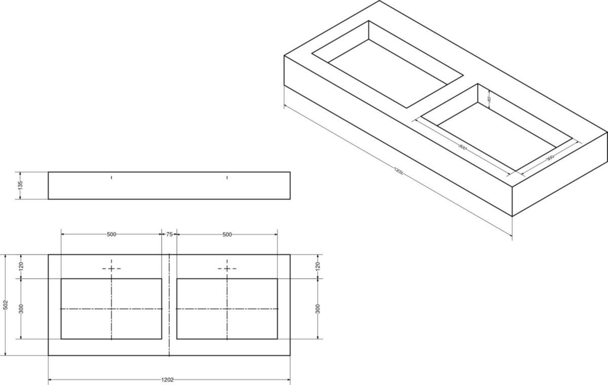Plan De Toilette Hydrofuge plan de toilette zao avec double vasque 120 cm béton (hpl)