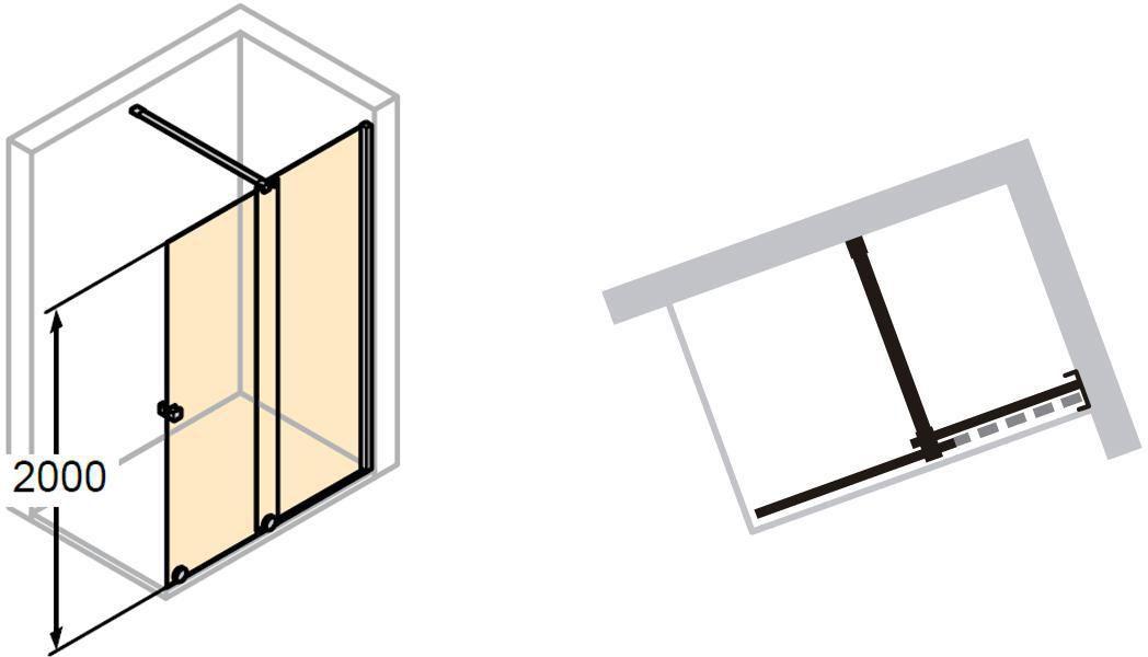 Paroi De Douche Coulissante Pureday Verre Fixe Timeless Porte Effet Miroir Anti Plaque Profile Noir 140 Cm Droite