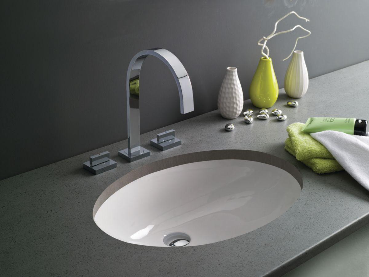 Vasque à encastrer par le dessous avec trop plein TOBA Lg : 57 cm Céramique  blanc