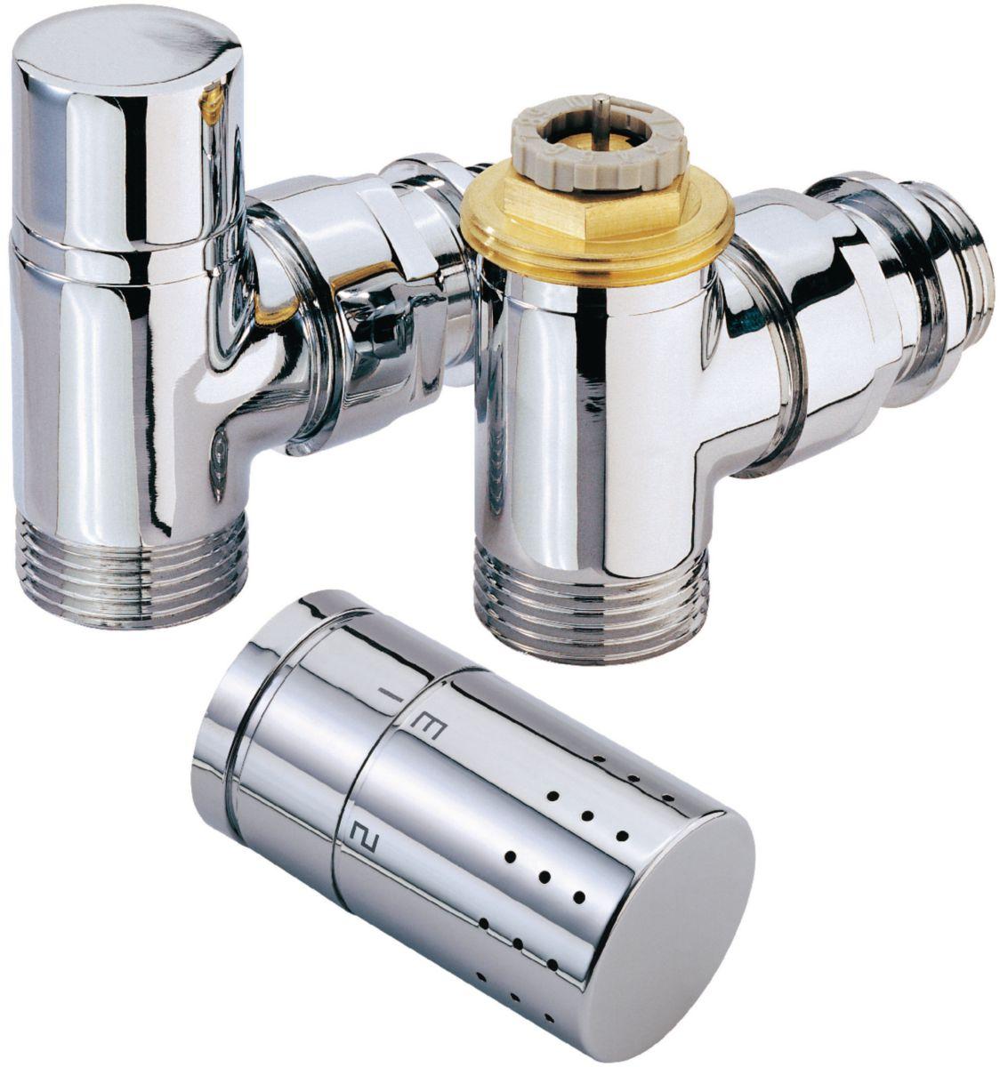 kit robinet radiateur thermostatique design chromé alterna ... - Robinet Thermostatique Seche Serviette